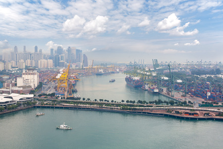 birdseye: View of the commercial port of Singapore with birds-eye view.