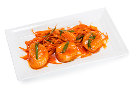 korean salad: Salad with scallop meat with carrots and spices. From a series of Food Korean cuisine. Stock Photo