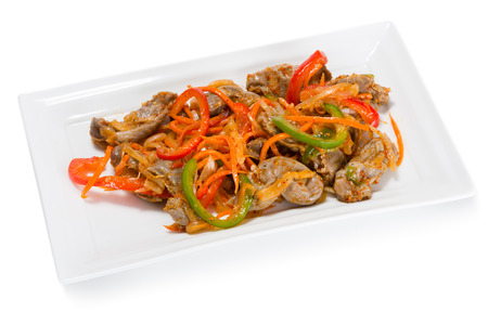 korean salad: Salad of chicken gizzards, red and green sweet peppers and spices. From a series of Food Korean cuisine.