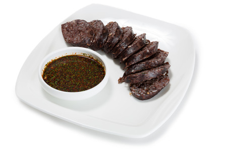 sund: Sund - blood sausage of pork with rice and soy sauce. From a series of Food Korean cuisine.
