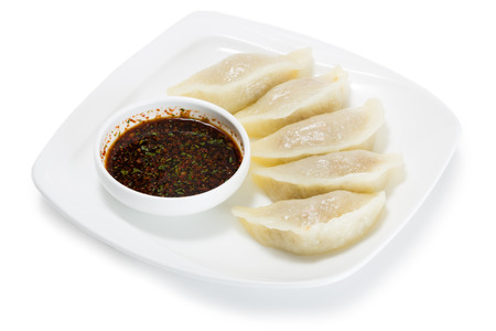 starch: Kamdipigodi patties of dough with potato starch steamed and soy sauce. From a series of Food Korean cuisine. Stock Photo