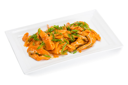 korean salad: Spicy salad heh with salmon and onions. From a series of Food Korean cuisine.