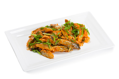 korean salad: Spicy salad heh with herring and onions. From a series of Food Korean cuisine.