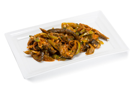 korean salad: Spicy salad heh with eggplant heh and onions. From a series of Food Korean cuisine. Stock Photo