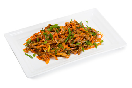 korean salad: Spicy salad heh beef meat , carrots and green onions. From a series of Food Korean cuisine.