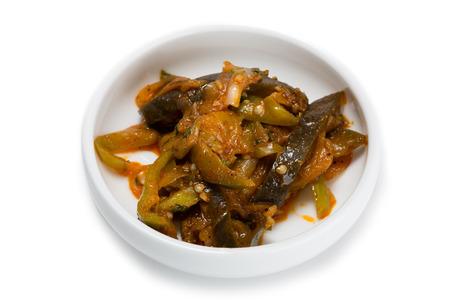 korean salad: Spicy salad heh of eggplant and sweet pepper. From a series of Food Korean cuisine.
