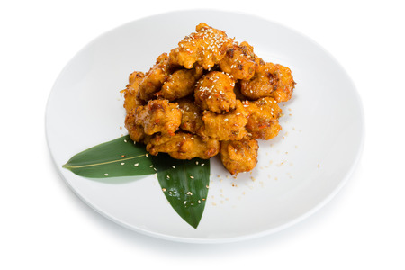 chunks: Chunks of chicken in batter.  From a series of Food Korean cuisine. Stock Photo