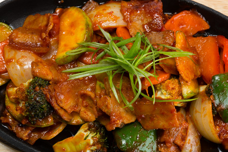 Roasted meat with vegetables in a skillet. From a series of Food Korean cuisine. photo