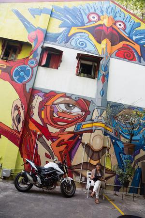 neighbourhood: SINGAPORE - CIRCA FEBRUARY, 2015: Street art in Haji Lane. Haji Lane is the Kampong Glam neighbourhood famous for independent fashion and Middle Eastern cafes.