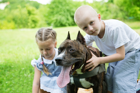 staffordshire: Brother and sister with American Staffordshire Terrier in the park