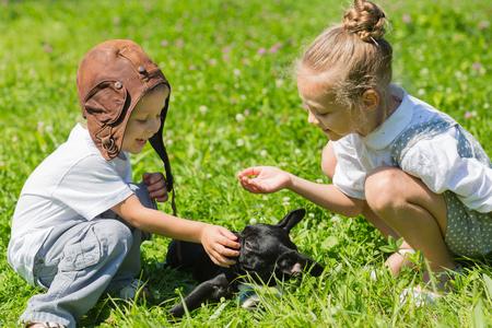 bulldog: Niños felices jugando con el perro (bulldog francés) en la hierba. Hermano y hermana.