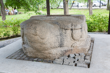 ancient turtles: Sculpture stone turtle Jin Empire era, the 13th century. This Chinese stone sculpture was found in 1864 in the city of Nikolsk-Ussuriisk, Russia. Located in the city of Ussuriysk, Primorsky Krai, Russia.