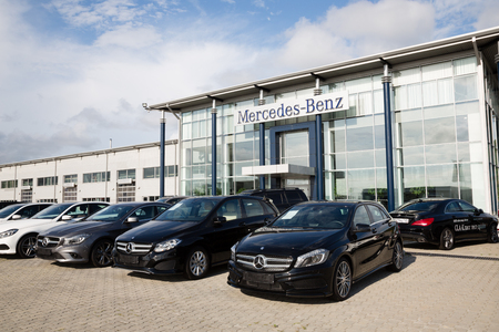 daimler: ARTYOM, RUSSIA - CIRCA AUGUST, 2015: Cars at the dealership of Mercedes-Benz for the city of Vladivostok. Mercedes-Benz - brand cars premium class, trucks and buses German concern «Daimler AG» Editorial