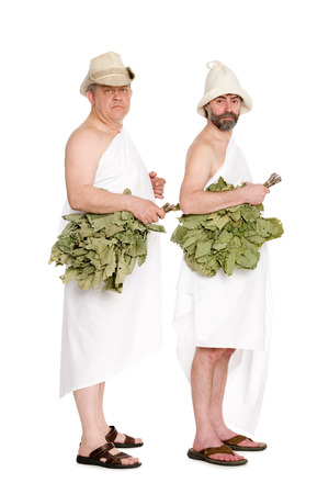 sauna nackt: Men with oak twigs for the Russian baths. From a series of Russian bath.