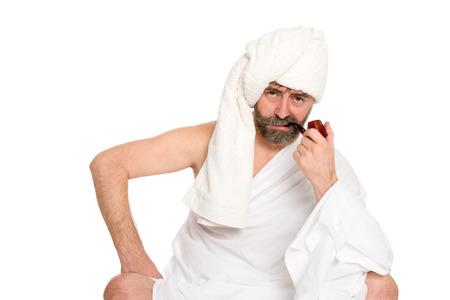 sauna nackt: Seus Mann mit einem Rohr in der Sauna Kleid. Aus einer Serie von russischen Bad.