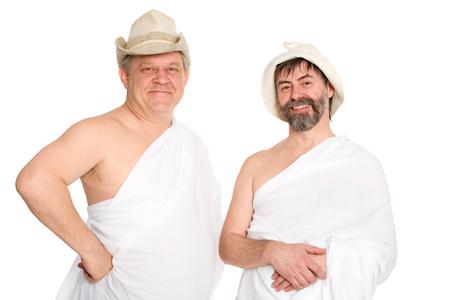 sauna nackt: Joyful Menschen in Badeanz�gen. Aus einer Serie von russischen Bad.