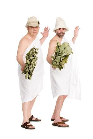 sauna nackt: Herren Badeanz�ge in spielerischen Posen. Aus einer Serie von russischen Bad. Lizenzfreie Bilder