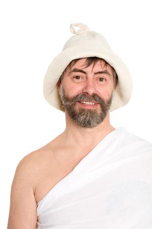 sauna nackt: Portrait der M�nner mittleren Alters in der traditionellen Bad gekleidet. Aus einer Serie von russischen Bad. Lizenzfreie Bilder