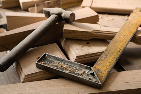 furniture hardware: Products and harvesting of wood lying on the workbench in the workshop