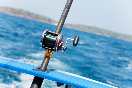 sportfishing: Trolling fishing with motor boat in the Andaman Sea, Thailand Stock Photo