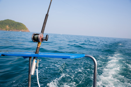 blue marlin: Fishing trolling tuna with a motor boat in the Andaman Sea coast of Thailand. Stock Photo