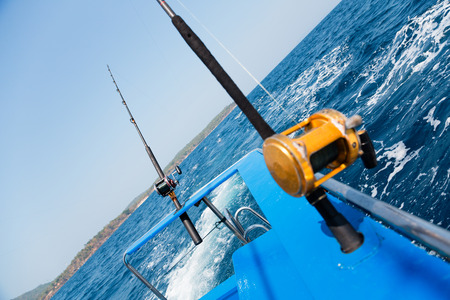 sea fishing: Trolling fishing with motor boat in the Andaman Sea, Thailand Stock Photo