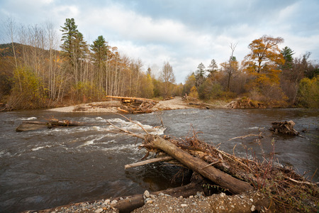 roadless: Destroyed road bridge after floods in the distant area. Autumn, Far East Russia.