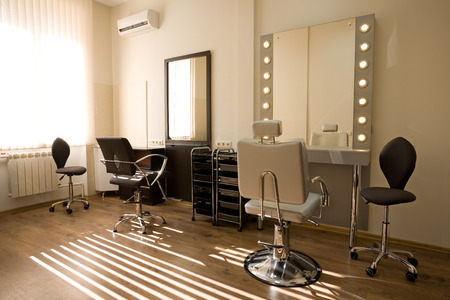 hairdressers shop: Cabinet make-up artist and hairdresser. Modern design.