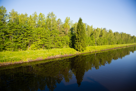navigable: Beautiful shipping Canal Moscow (Moscow-Volga Canal)