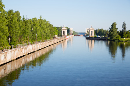 river banks: Sluice construction on the Moscow Canal (Moscow-Volga Canal)