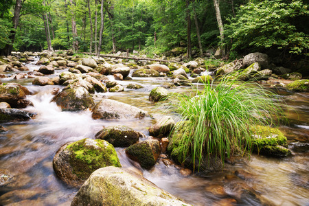 Beautiful summer river view in a remote mountainous region Stock Photo