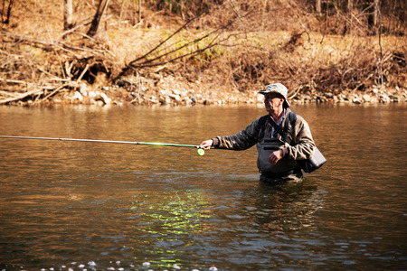 grayling: Middle-aged fisherman catching grayling in the river in the fall
