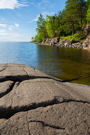 Beautiful rocky shore of the famous island of Valaam. Karelia, north of Russia. Stock Photo