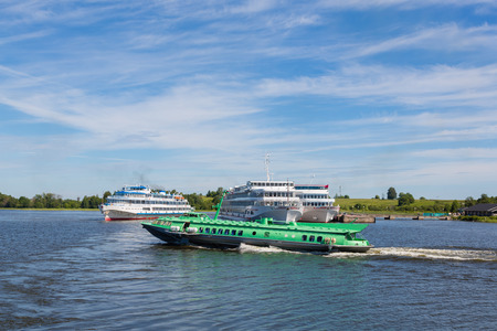 onega: Cruise ships are at Kizhi Island on Lake Onega in Karelia in the north of Russia.