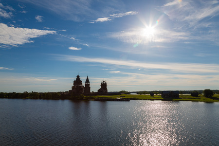 Early morning on the famous island of Kizhi in Lake Onega in Karelia in the north of Russia. Stock Photo