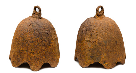 tibetian: Rare ancient alarm bell of cast iron. Bell refers to the period of existence of the State of the Jurchen in the east, 1115 at 1234 years. Found in Primorsky Krai,  Russia. Dimensions 305 mm to 335 mm