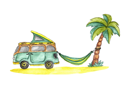 Microbus, hammock, palm and beach Stock Photo - 99859086