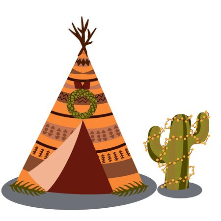 Indian dwelling. Wigwam and desert cactus in Christmas decorations. Vector illustration Illustration