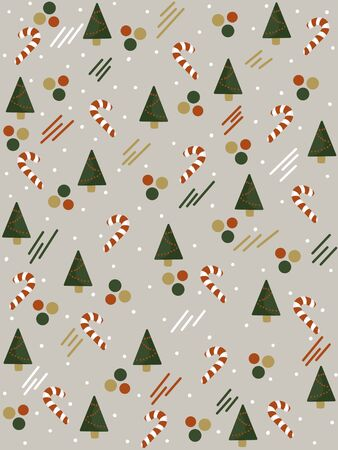 Christmas pattern on a gray background with Christmas trees, candies and other colored elements.