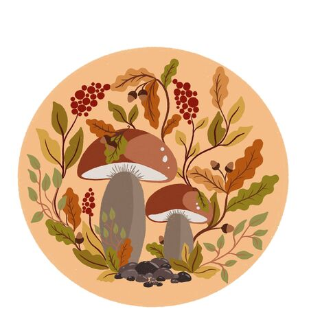 Autumn composition with white lamellar mushroom,.berries, acorns and oak leaves