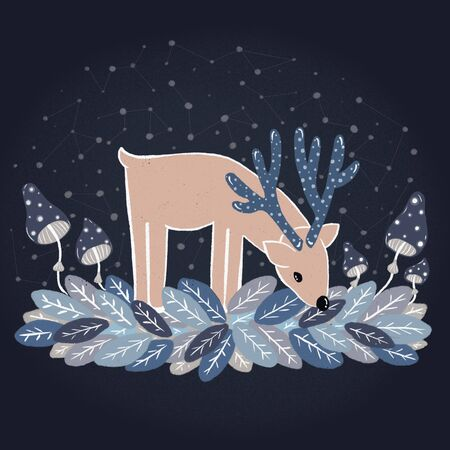 Fairy deer with blue speckled horns on colored leaves.. The sky in constellations . Fabulous blue mushrooms toadstools.