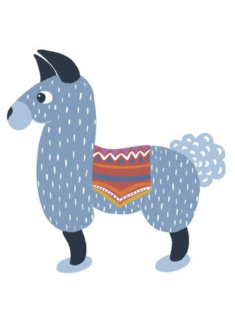 Blue llama with a colored Cape on the back