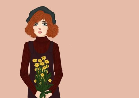 Red-haired young woman in a maroon striped sweater, a sundress and a black beret . Green-eyed woman holding yellow flowers . Copy space illustration. Stock Photo