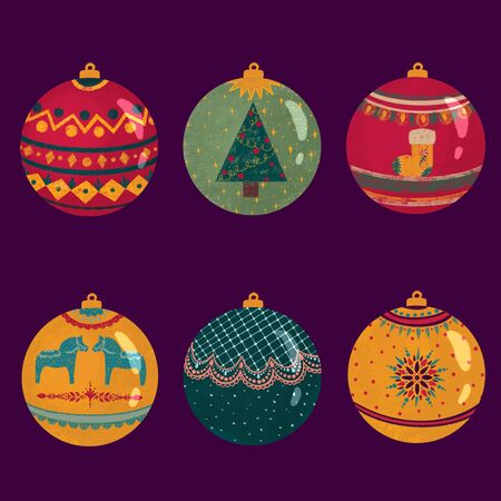 Group of vintage colorful christmas baubles with different. textures decoration. Set of christmas balls on purple background