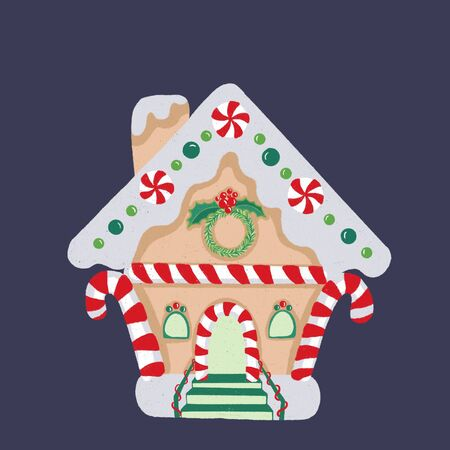 Christmas gingerbread house with colored elements. Christmas cookies and sweets.