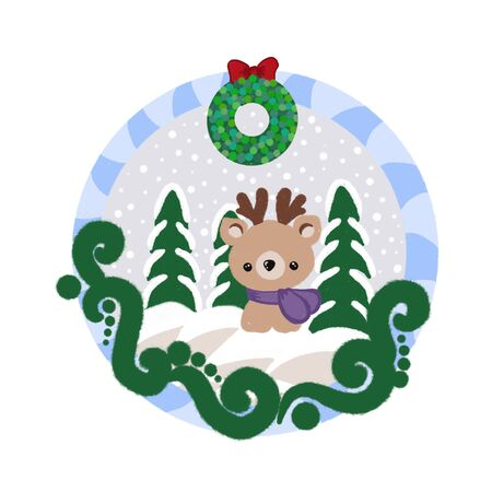 Christmas frame with reindeer and Christmas trees in snowy weather. Blue and white frame with green patterns. Christmas wreath.