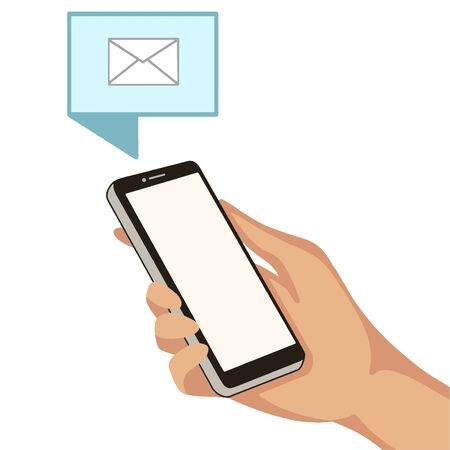Hand with cell phone. New sms message to smart phone. Vector illustration Illustration