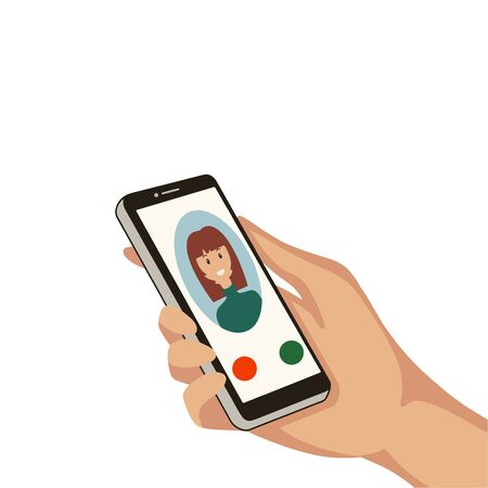 Hand with cell phone. Incoming call from a woman on a cell phone. Vector illustration