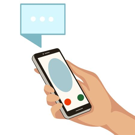 Hand with cell phone. Incoming call on a cell phone. Vector illustration Illustration