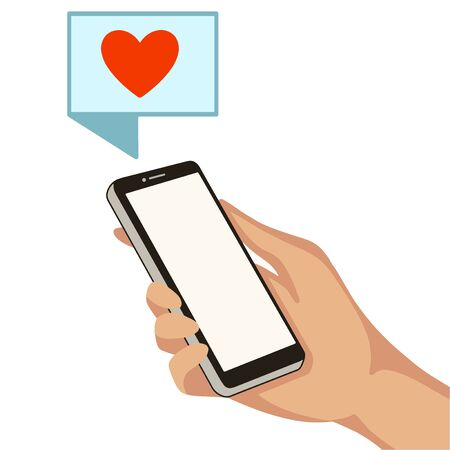 Hand with cell phone. Icon with likes. Vector illustration